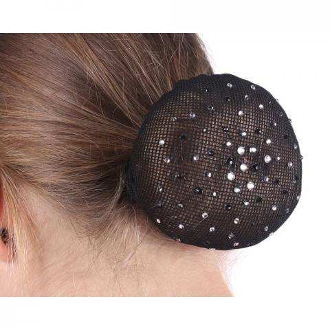Siatka na włosy z kryształkami czarno-srebrnymi QHP czarna