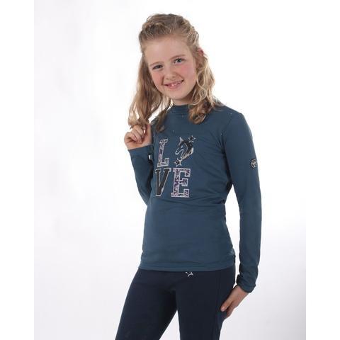 Bluzka QHP Lizz Junior Smokey Blue długi rękaw, granatowa