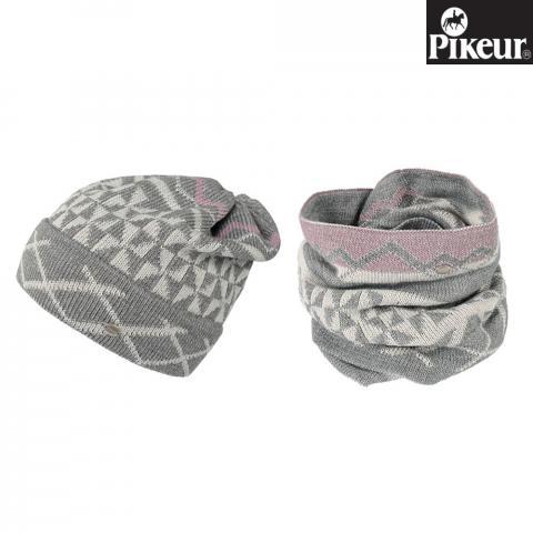 Komplet czapka+komin Pikeur szary/róż
