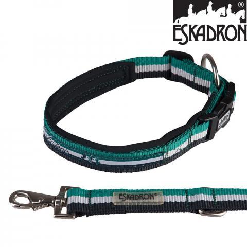 Smycz z obrożą Eskadron CS smaragdgreen-white-darknavy, zieleń-biel-czerń SS2015