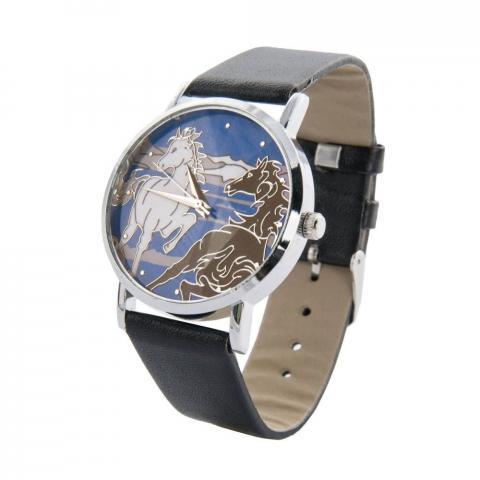 Zegarek HKM Horse z czarną bransoletką
