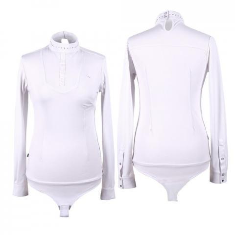 Bluzka-body konkursowa QHP Belle długi rękaw biała
