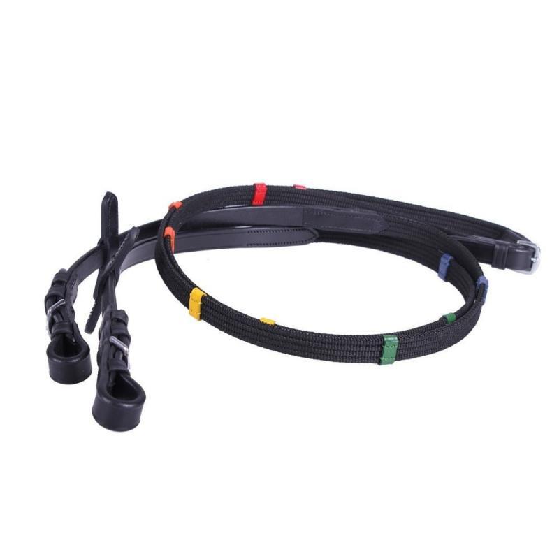 Wodze QHP parciane z kolorowymi stoperami, czarne
