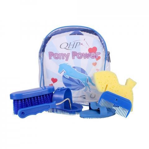 Zestaw szczotek w plecaku QHP Pony Power niebieski