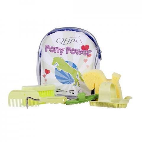 Zestaw szczotek w plecaku QHP Pony Power Lime, limonkowy