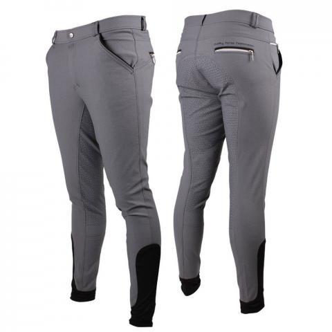 Bryczesy męskie QHP Jason anti-slip full Grey, szare