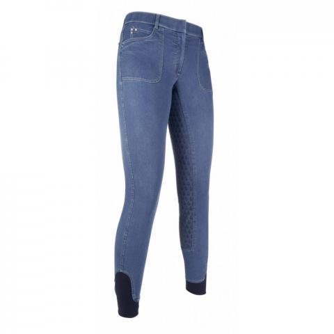 Bryczesy z silikonem HKM Santa Rosa Denim jeansowe
