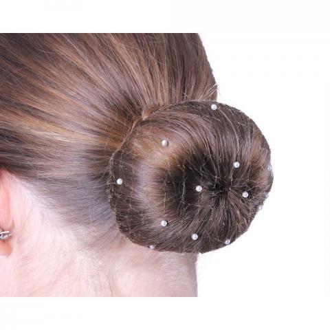 Siatka na włosy z perełkami QHP biała